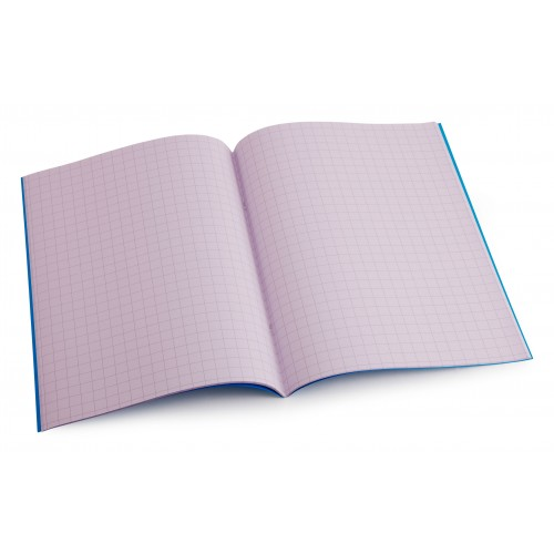 Purple A4 exercise book - 10mm squared with margin