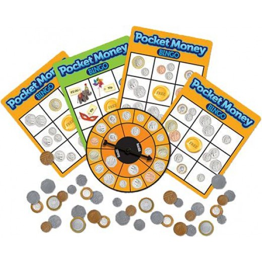 Bingo cards and coins