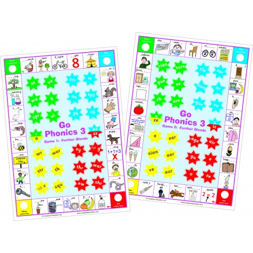 Double-sided phonics board game