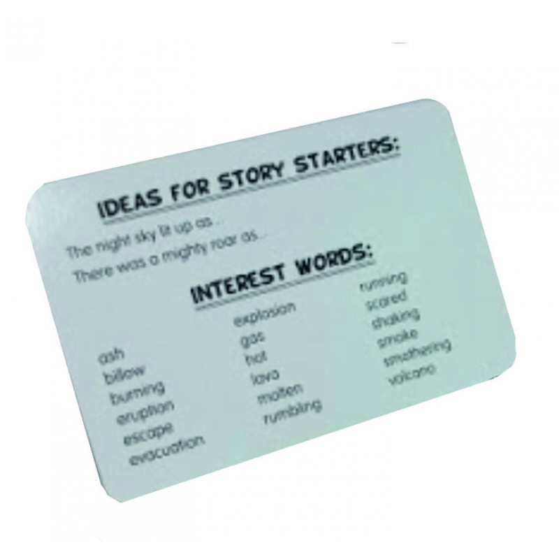 Vocabulary and writing suggestions on reverse of every card