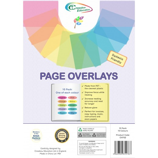 Coloured overlays for dyslexia and visual stress - 10 mixed pack
