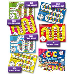 6 CVC and CVCC Spelling Board Games