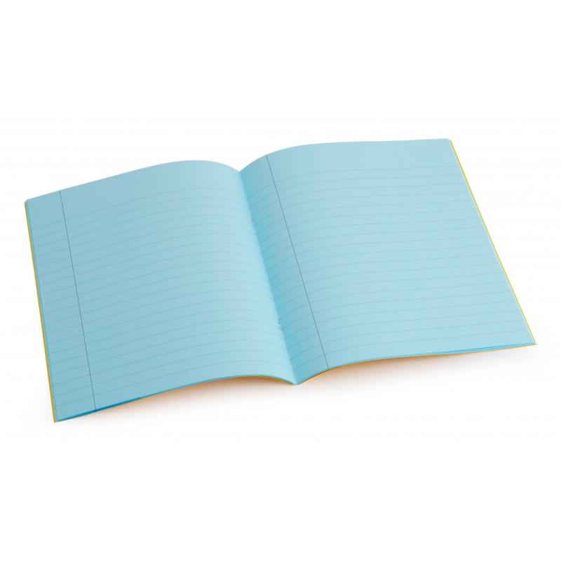 Standard size (9 inch x 7 inch) tinted exercise book - Aqua 10mm lined with margin