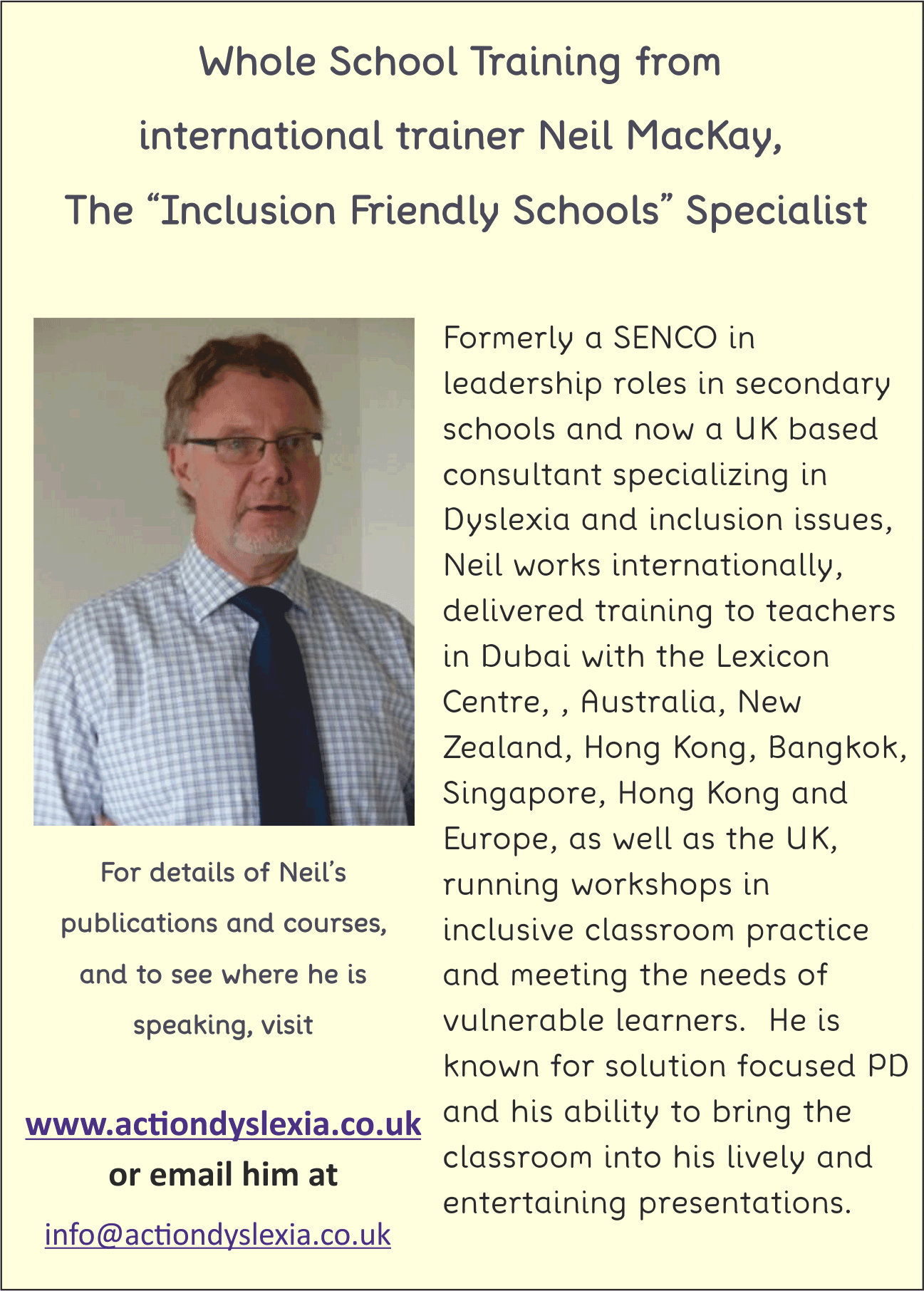 Dyslexia friendly schools training with Neil Mackay