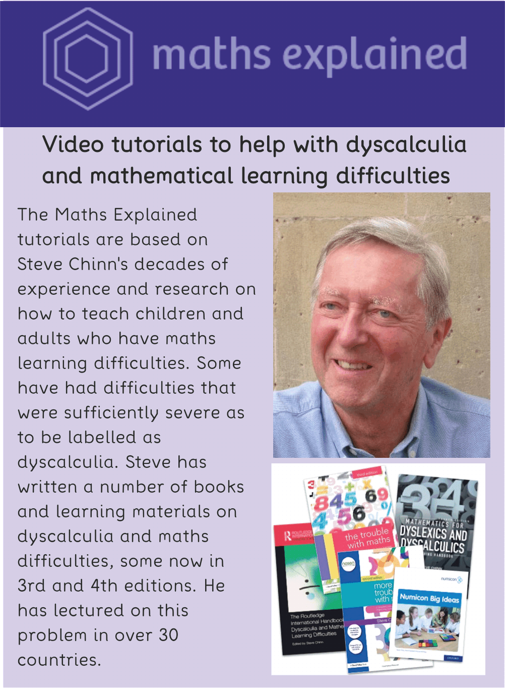 Maths Explained videos for dyscalculia and maths learning difficulties